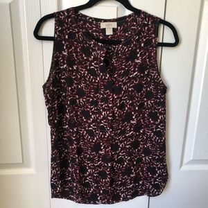 Loft Red and Black Floral Sleeveless Blouse